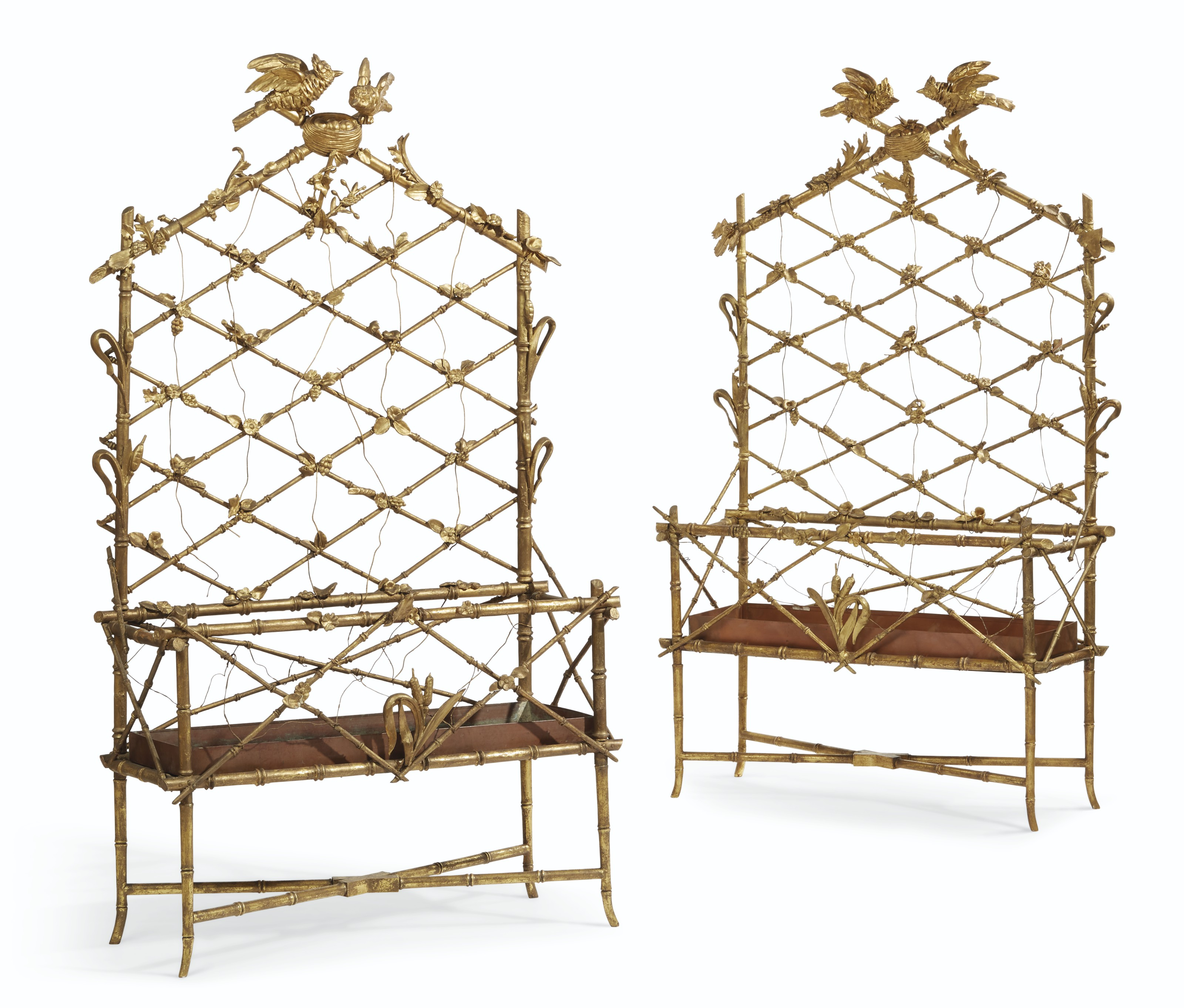 A PAIR OF LATE VICTORIAN GILTWOOD JARDINIERES