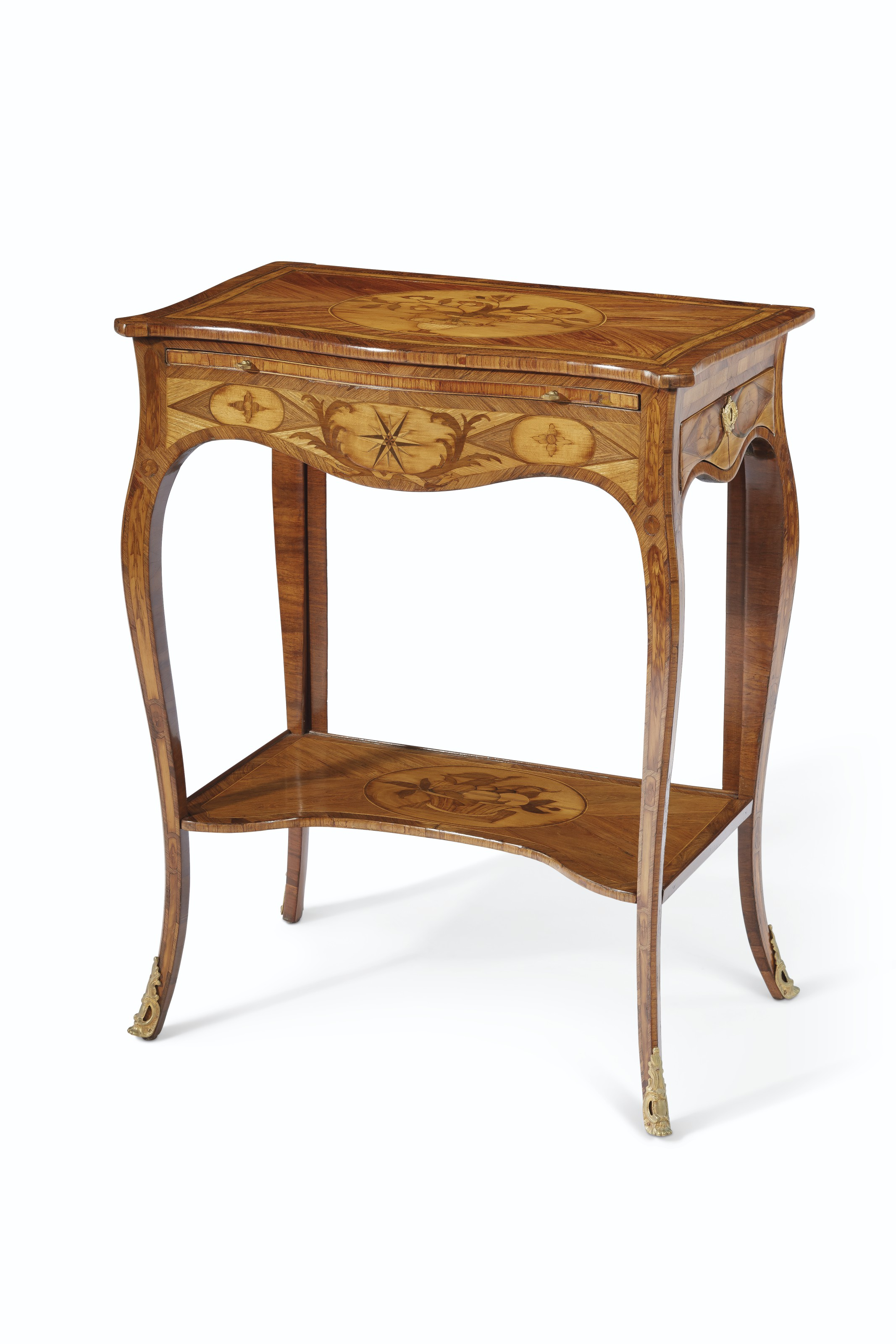 A GEORGE III ORMOLU-MOUNTED KINGWOOD, TULIPWOOD AND MARQUETRY WRITING TABLE
