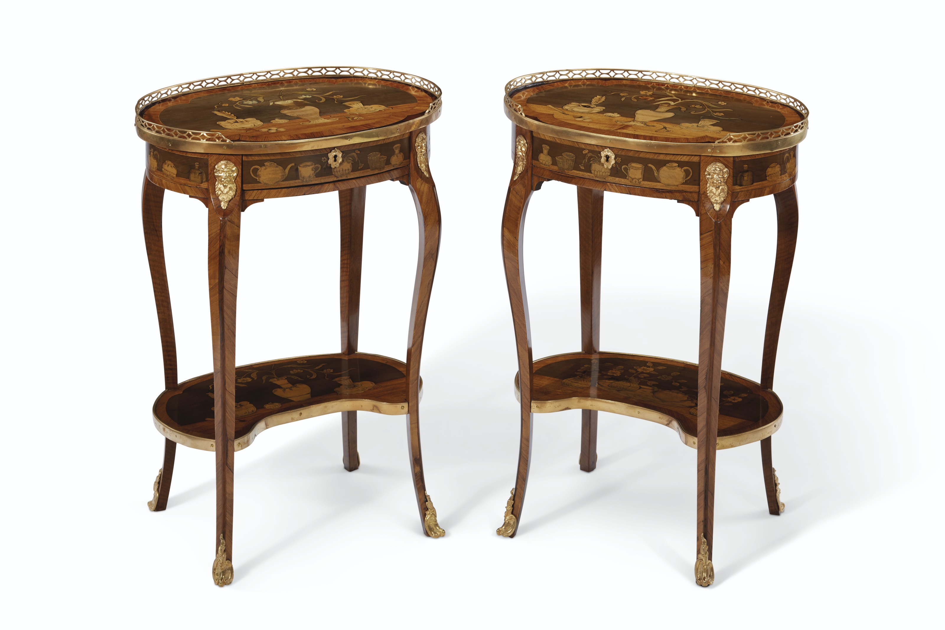 A PAIR OF LATE LOUIS XV ORMOLU-MOUNTED TULIPWOOD AND MARQUETRY OCCASIONAL...