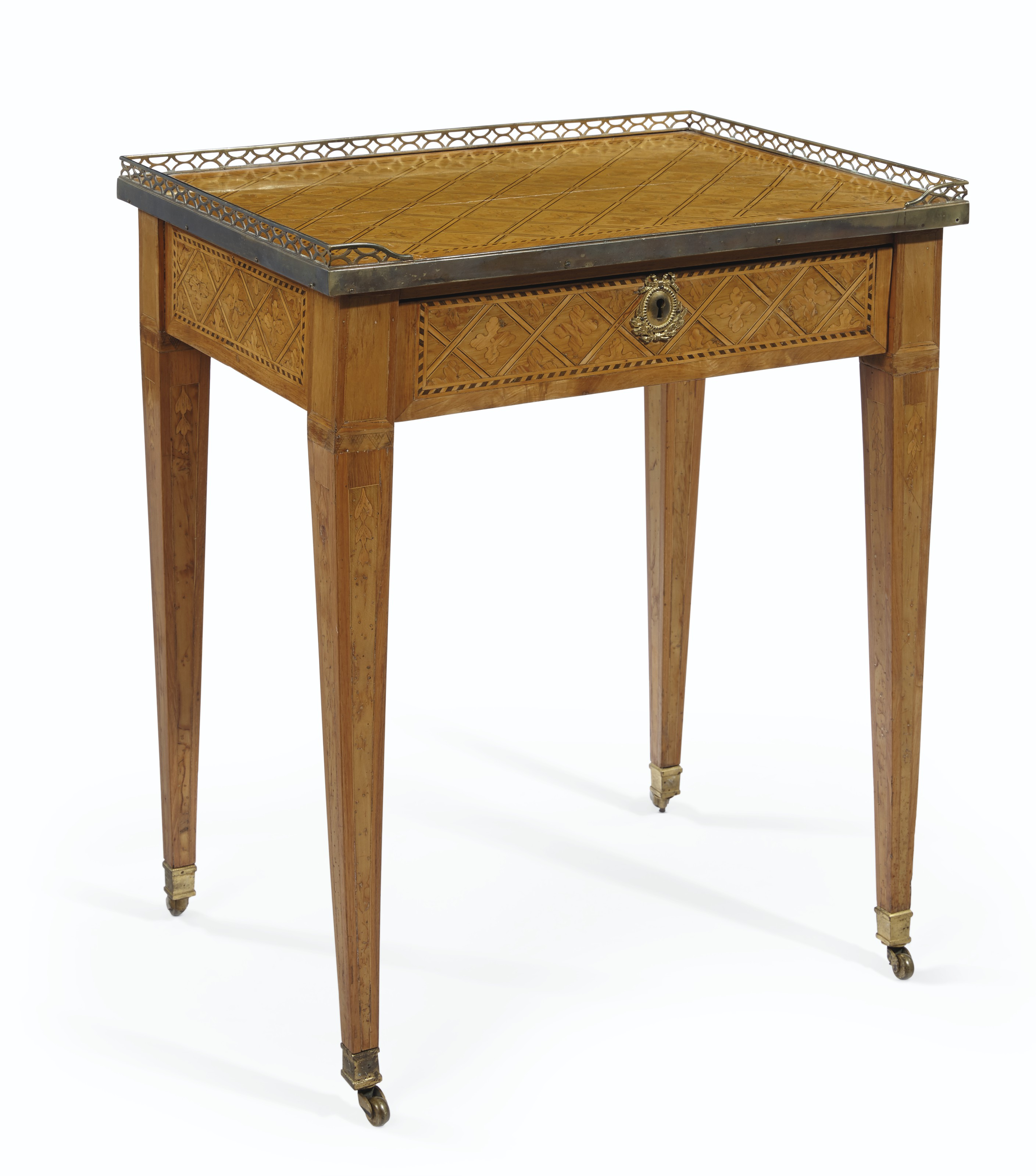 A FRENCH ORMOLU-MOUNTED TULIPWOOD, FRUITWOOD AND PARQUETRY OCCASIONAL TABLE