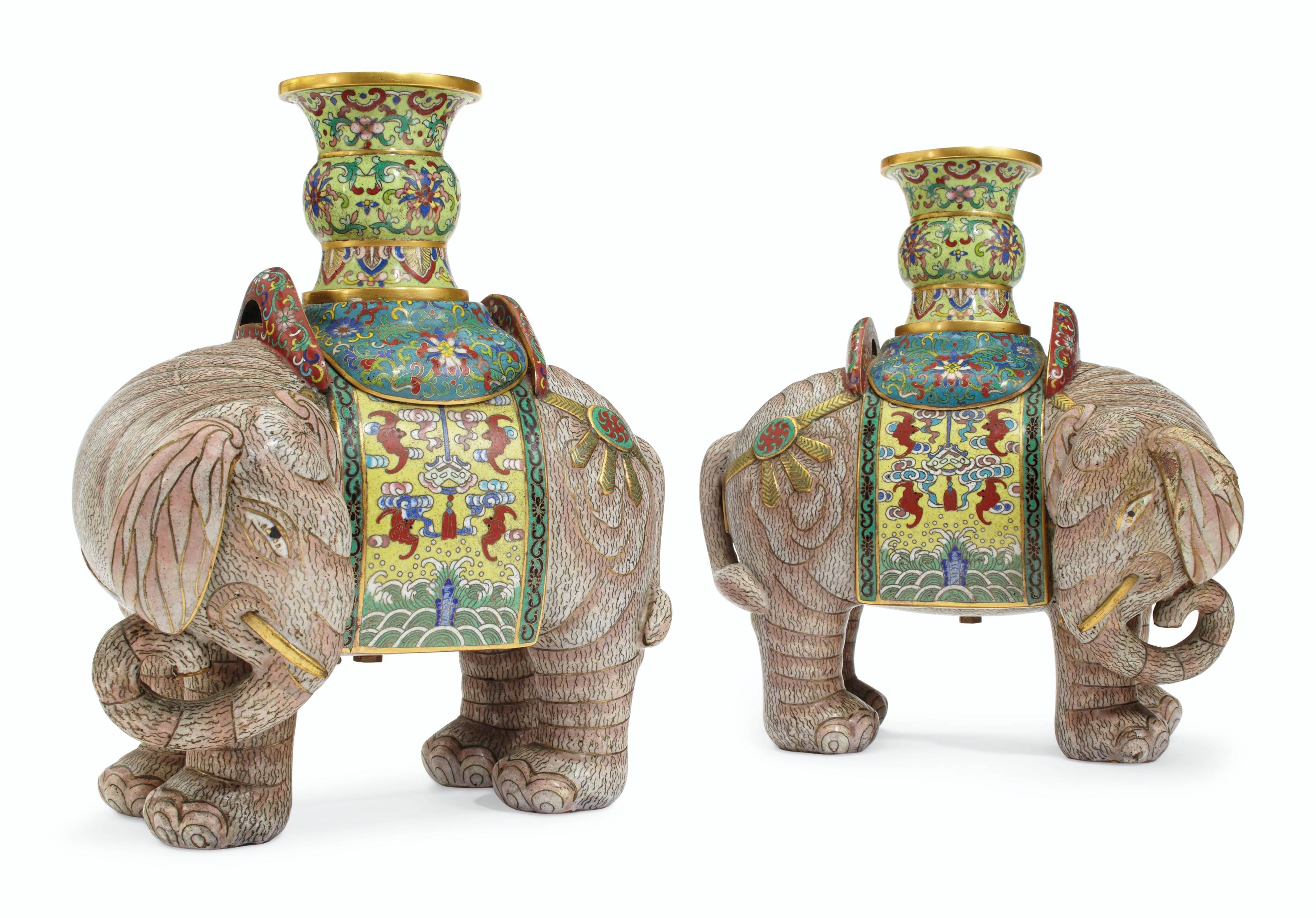 A PAIR OF CHINESE CLOISONNÉ ENAMEL ELEPHANTS