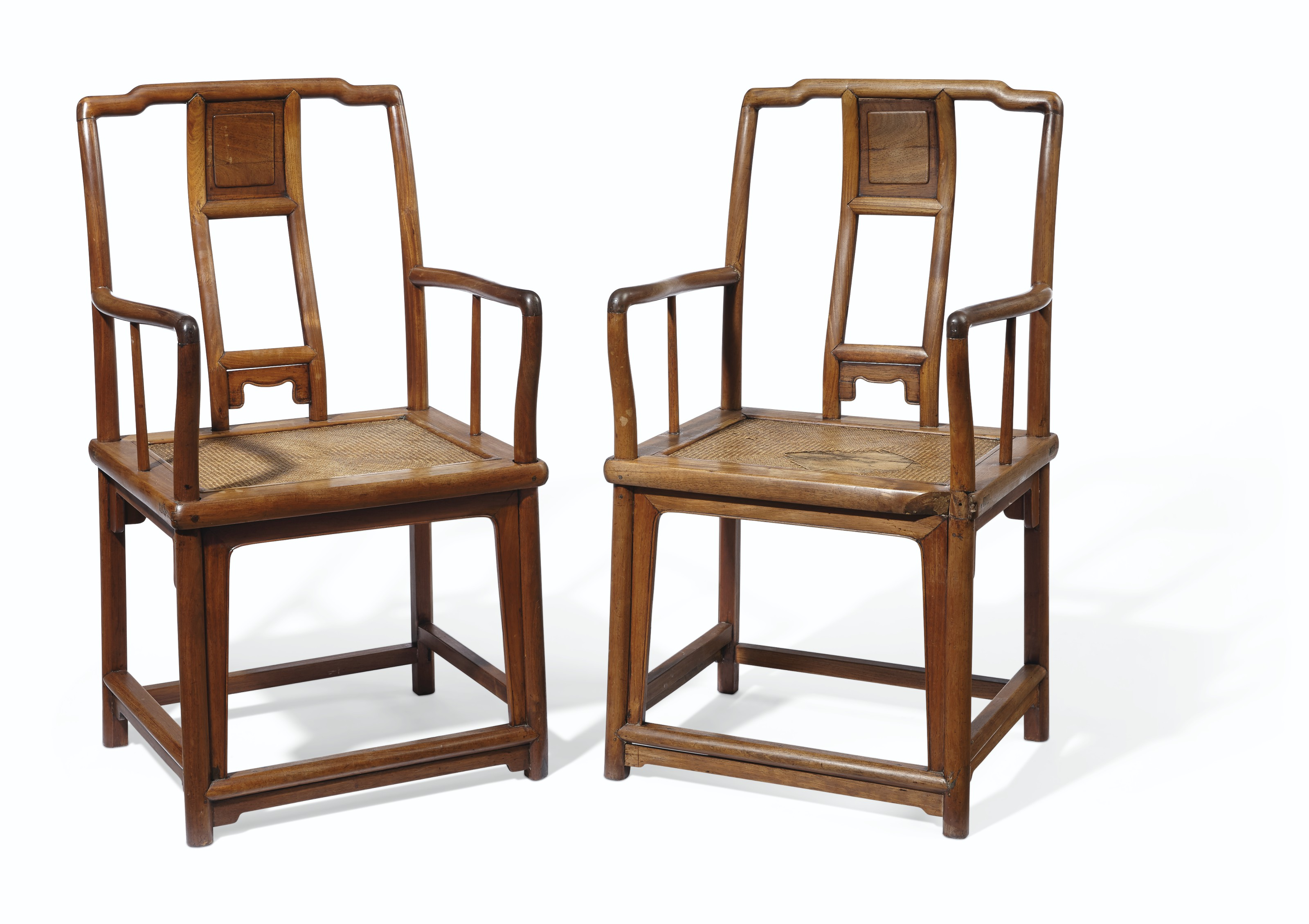A PAIR OF CHINESE HUANGHUALI 'SOUTHERN OFFICIAL'S HAT' ARMCHAIRS, NANGUANMAOYI