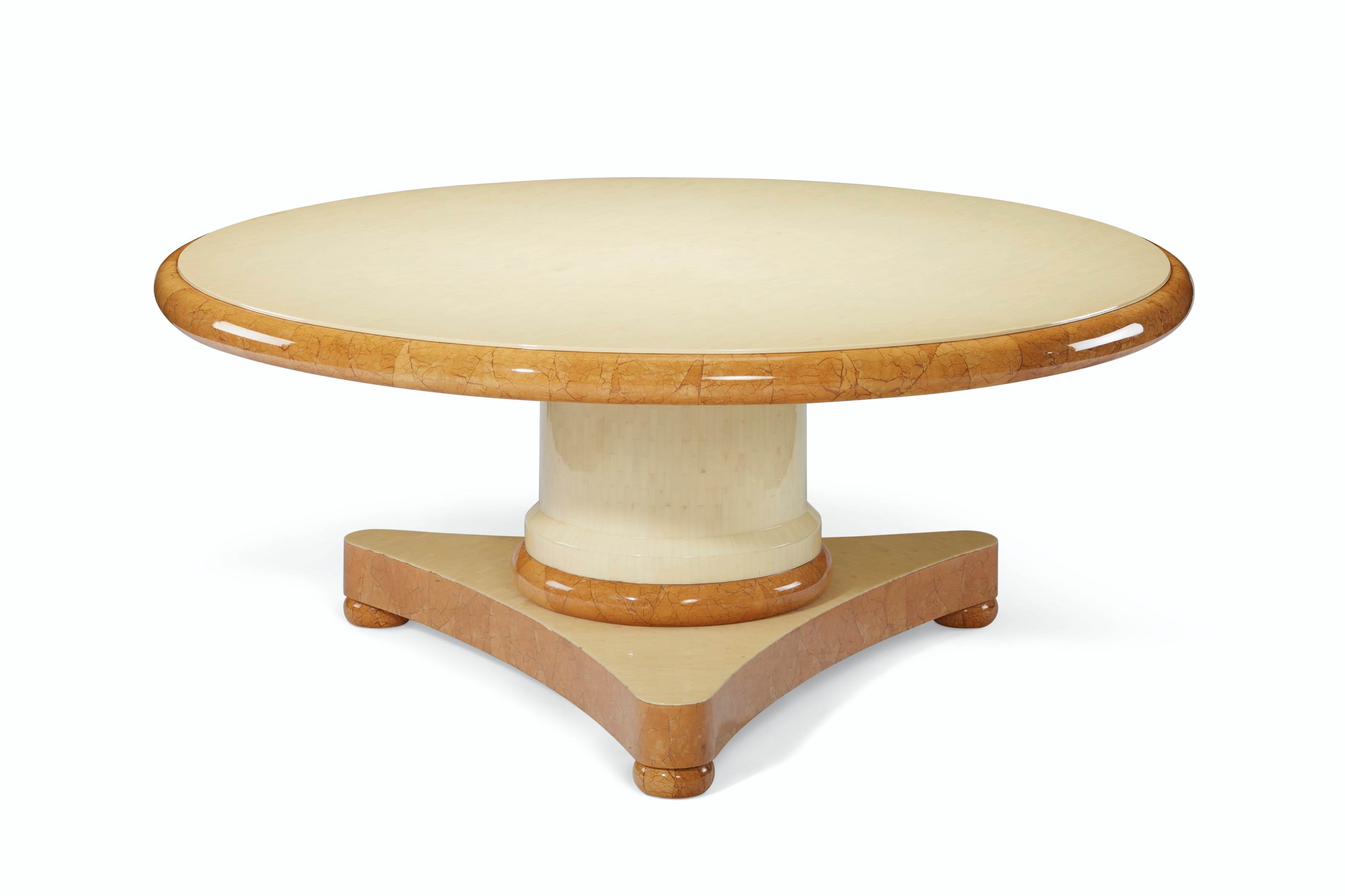 AN ACRYLIC VENEERED AND LACQUER DINING TABLE