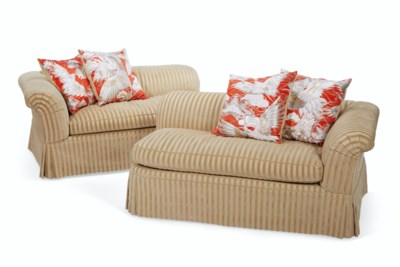 A PAIR OF TWO SEAT CORNER SOFA