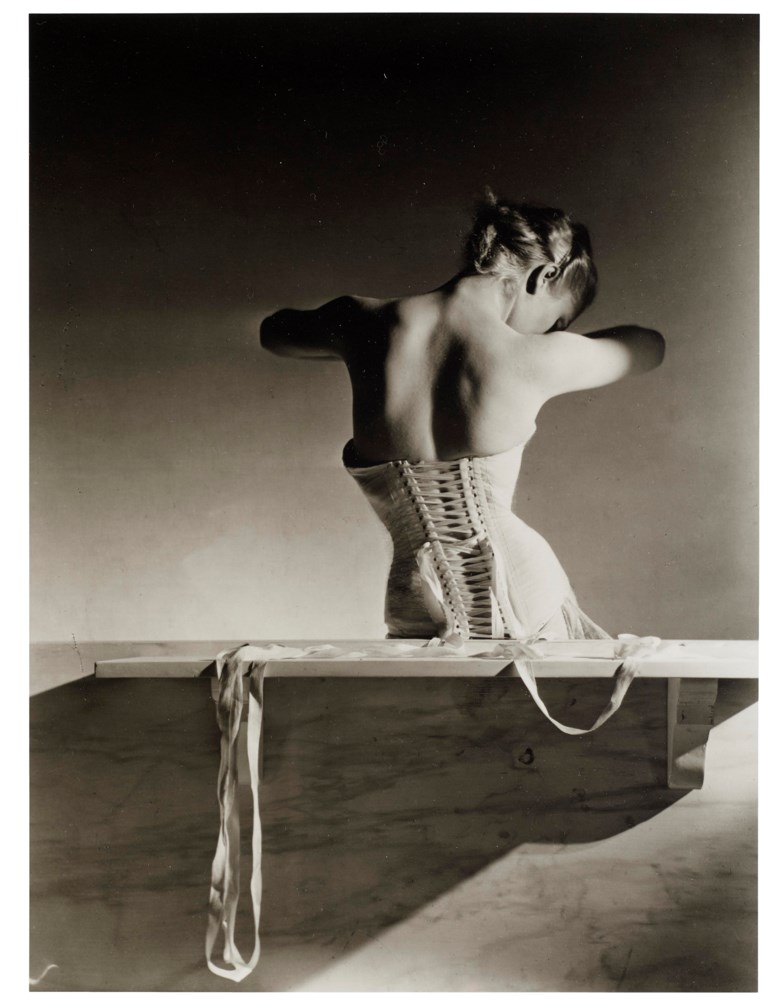 Horst P. Horst (1906-1999), Mainbocher Corset, 1939. Gelatin silver print, printed 1980s. Sheet 13⅞ x 10⅞ in (35.2 x 27.6 cm). Estimate $8,000-12,000. Offered in  Fashion Photo, 2-11 December 2019, Online