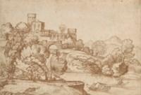 Villa italienne dans un paysage arboré au bord d'une rivière