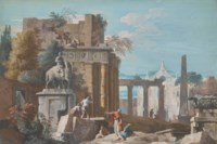 Caprice architectural avec une statue équestre sur la gauche et la façade d'une église à l'arrière-plan