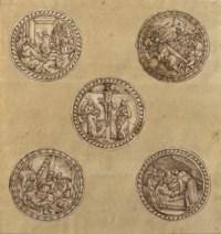 Cinq médaillons représentant la Passion du Christ