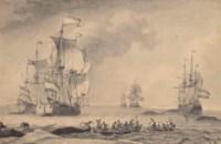 Chasse à la baleine, des voiliers à l'arrière-plan