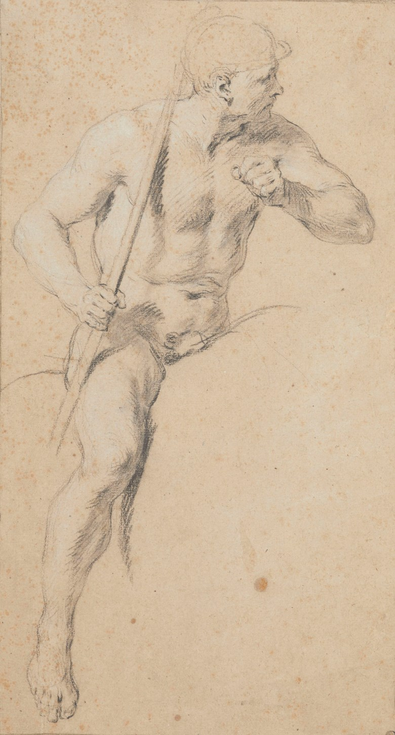 François Lemoyne (Paris 1688-1737), Etude dun cavalier casqué tenant une lance. Black chalk, stumped, heightened with white. 14⅖ x 7¾ in (36.6 x 19.7 cm). Sold for €81,250 on 27 March 2019 at Christie's in Paris