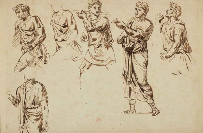 Eugène Delacroix (1798-1863), Figures draped in classical style. Pen and brown ink, initial watermark in an escutcheon surrounded by foliage. 25.3 x 38.2  cm. Sold for €8,125 on March 27 2019 at Christie's in Paris