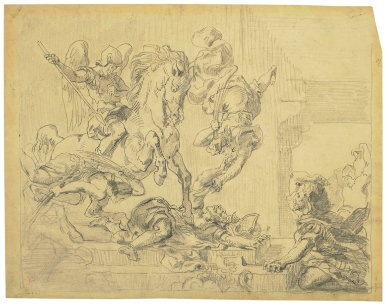 Eugène Delacroix (1798-1863), Héliodore chassé du temple. Graphite on tracing paper. 30.8 x 39.1  cm. Sold for €17,500 on 27 March 2019 at Christie's in Paris