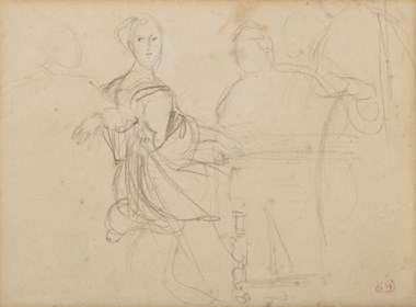 Eugène Delacroix (1798-1863), Woman at the piano. Graphite. 16 x 22.5  cm. Offered in Old and 19th-Century Drawings Including Works from the Jean Bonna Collectionon March 27 2019 at Christie's in Paris