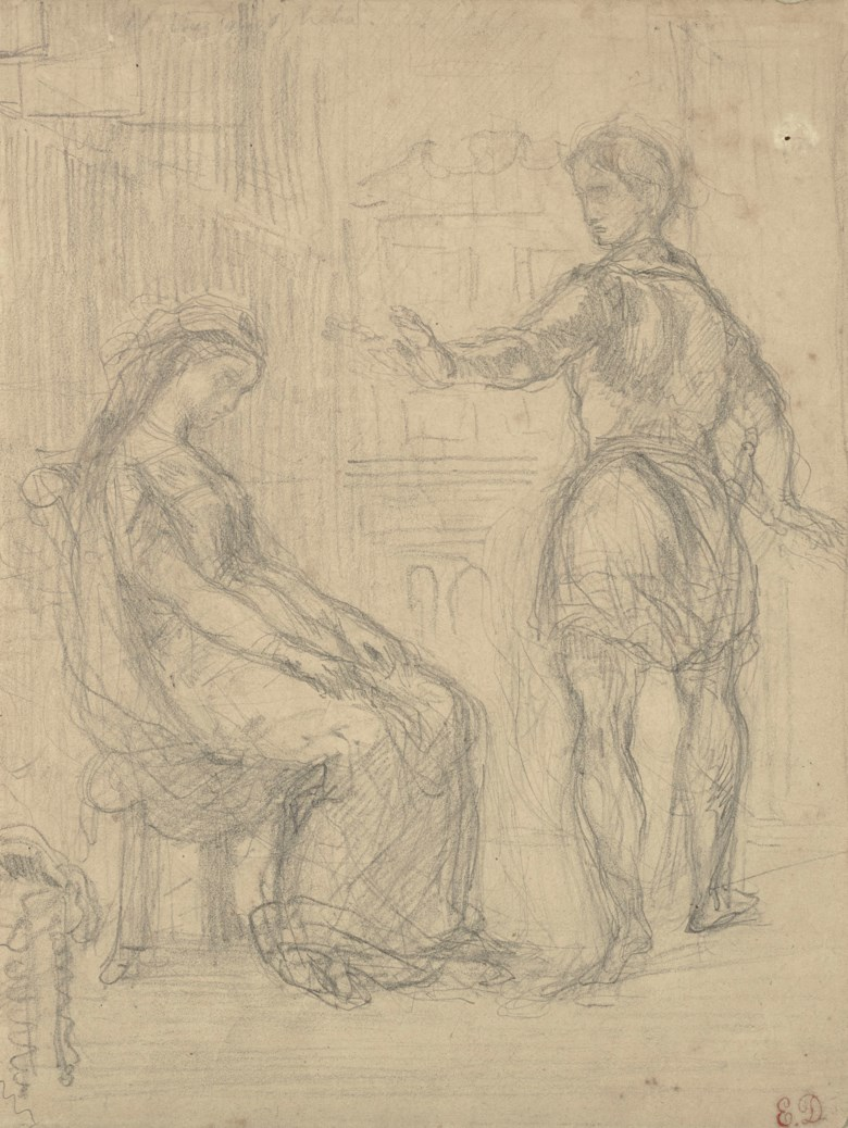 Eugène Delacroix (1798-1863), The Insult of Hamlet to Ophelia, after William Shakespeare. Graphite, incised outline. 24.3 x 18.5  cm. Sold for €11,250 on 27 March 2019 at Christie's in Paris