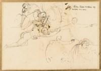 Femme assise repliée sur elle-même et étude de femme debout le bras levé entourée de figures (recto); Étude de figures (verso)