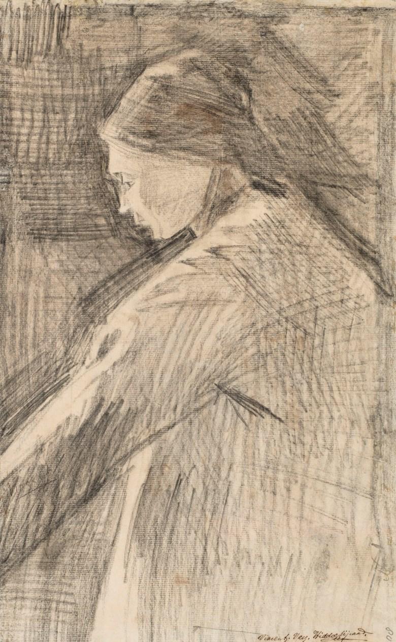 Vincent van Gogh (1853-1890), Femme deboutou de profil, 1882. Sold for €514,000 on 28 March 2019 at Christie's in Paris