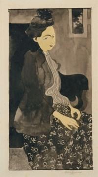Femme assise avec un chapeau à plumes