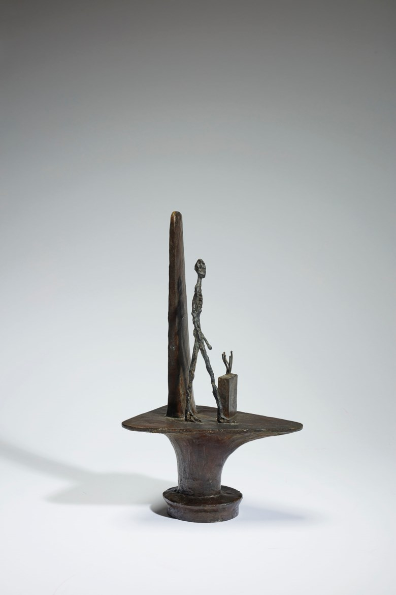 Alberto Giacometti (1901-1966), Projet pour un monument à la mémoire de Gabriel Péri (piédestal par Paul Nelson), conceived in 1946. This bronze cast in 1961 in an edition of 6 numbered 16 to 66 plus 1. 45.5 x 16.2 x 26.1  cm. Estimate €1,200,000-1,800,000. Offered in Impressionist & Modern Art on 29 March 2019 at Christie's in Paris. Artwork ©