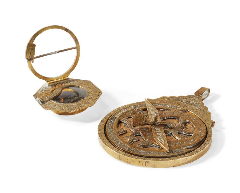 A compass and astrolabe, both in brass. 16th century. Astrolabe  H 120  mm (4¾  in). Estimate €700-1,000. Offered in The Collector Le Goût Français on 18 April 2019 at Christie's in Paris