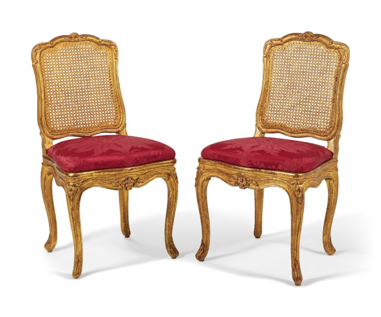 A pair of royal chairs, Louis XV style, stamped Jean Boucault, 1728.  H 94  cm (34  in);  L 50  cm (19¾  in). Sold for €25,000 on 18 April 2019 at Christie's in Paris