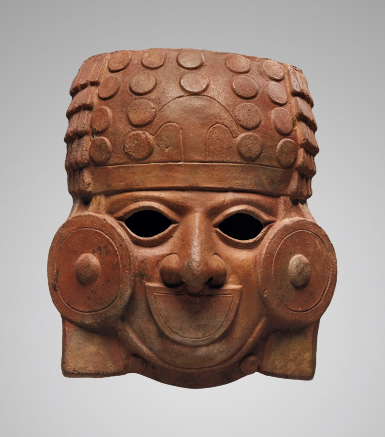 Rare Mochica mask of a warrior, Env. 200-500 AP. J.C.Height 18.5  cm (7 ½  in). Sold for €22,500 on 9 April 2019 at Christie's in Paris
