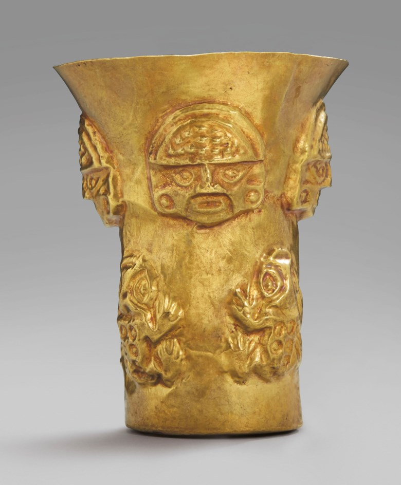 Sicán beaker, circa 900-1100 AD.Height 13.4 cm. Sold for €40,000 on 9 April 2019 at Christie's in Paris