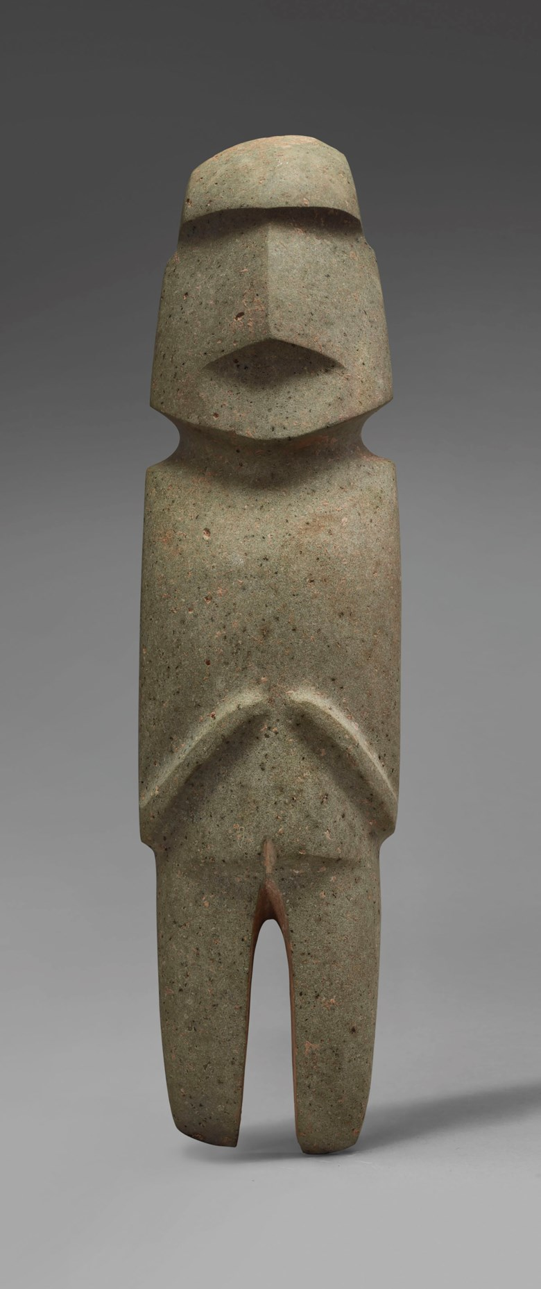 Important standing Mezcala figure, Type M10, Pre-Classic, circa  300-100 BC. Height 32.3  cm. Sold for €187,500 on 9 April 2019 at Christie's in Paris