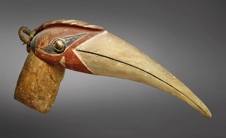 A malangan mouth ornament, New Ireland, Papua New Guinea. Length 36.5  cm (14⅜  in). Estimate €8,000-12,000. Offered in Art from Africa, Oceania and North America on April 10 2019 at Christie's in Paris