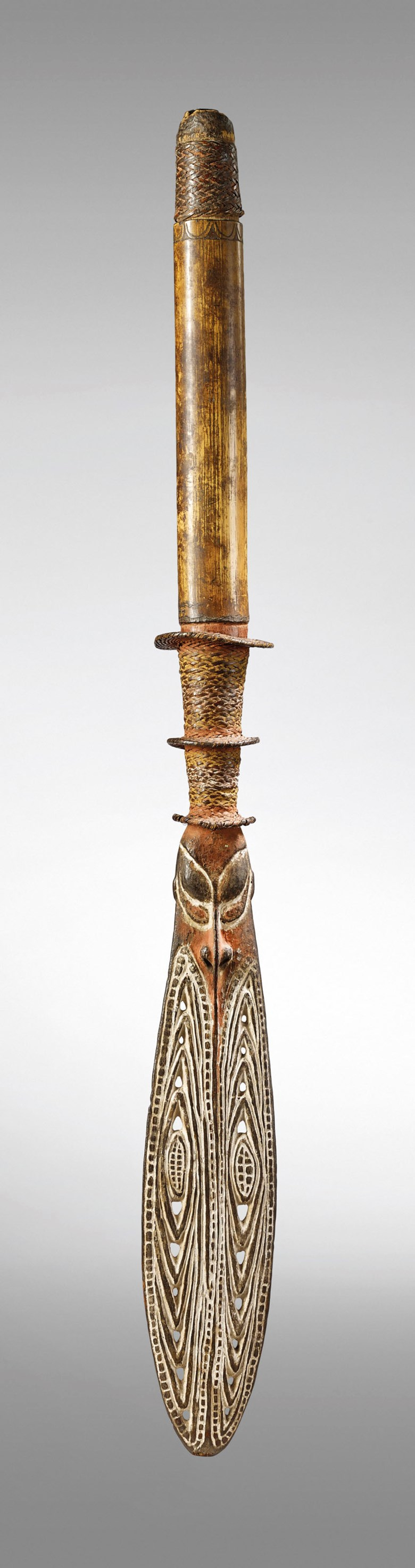 An Iatmul lime gourd, Middle Sepik region, Papua New Guinea. Height 75  cm (29½  in). Estimate €30,000-50,000. Offered in Art from Africa, Oceania and North America on 10 April 2019 at Christie's in Paris