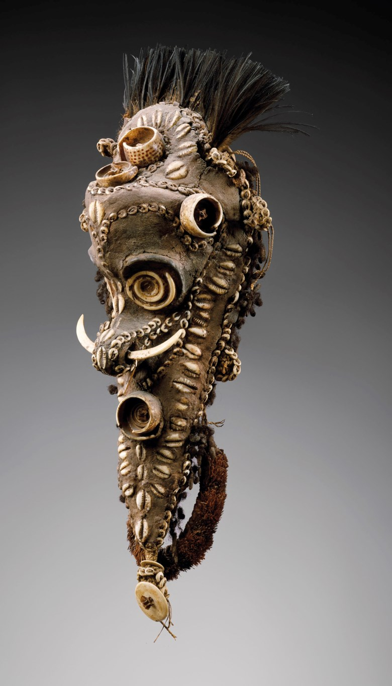 Biwat ornament mask for a sacred flute, Yuat River, Papua New Guinea. Height 49  cm (19¼  in). Estimate €100,000-150,000. This lot is offered in Art from Africa, Oceania and North America on 10 April 2019 at Christie's in Paris