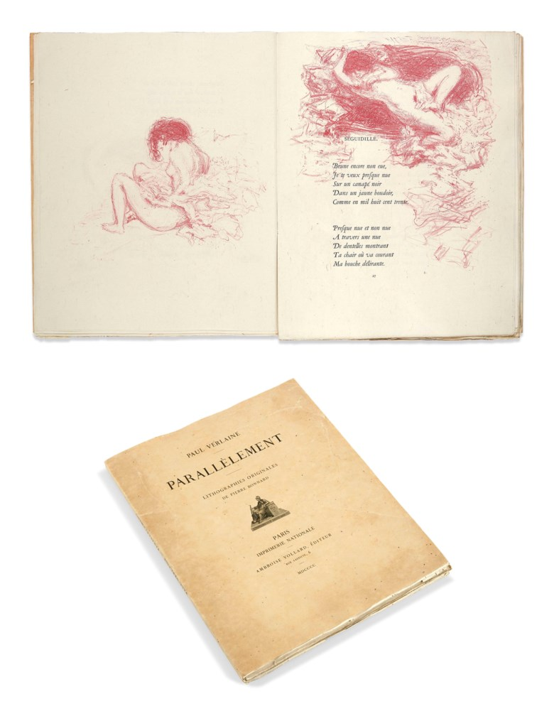 Paul Verlaine and Pierre Bonnard, Parallèlement (In Parallel), Paris, Vollard, 1900. Dimensions 304 x 206  mm. Estimate €30,000-40,000. This lot is offered in Marc Litzler Libraryon February 20 2019 at Christie's in Paris