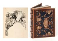 HUYSMANS (J.-K.) – LEPÈRE (A.). À rebours. Paris, E. Féquet pour Les Cent Bibliophiles, 1903, in-4°, maroquin gold, sur les plats, serti de listels de maroquin terre de Sienne, ample décor de feuillage mosaïqué de maroquin prune, violet et vert d'eau, dos à nerfs mosaïqué de maroquin prune et vert d'eau, doublure de maroquin violet sertie de listels de maroquin prune et vert d'eau et d'un motif à répétition en encadrement mosaïqué de maroquin citron, gardes de soie moirée jaune, couverture et dos, tranches dorées sur témoins, chemise et étui bordés de maroquin havane (Marius Michel).