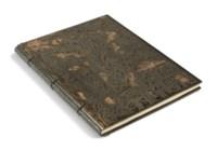 APOLLINAIRE (G.) – DERAIN (A.). L'Enchanteur pourrissant. Paris, Kahnweiler, 1909, in-4°, lames d'ébène articulées, copeaux d'ébène polie en relief contrecollés, l'ensemble bordé d'ébène en gouttière, au mors bordure de palmier en relief, couture sur nerf, dos de lézard, doublure de nubuck, couverture et dos (J. de Gonet – 2002).