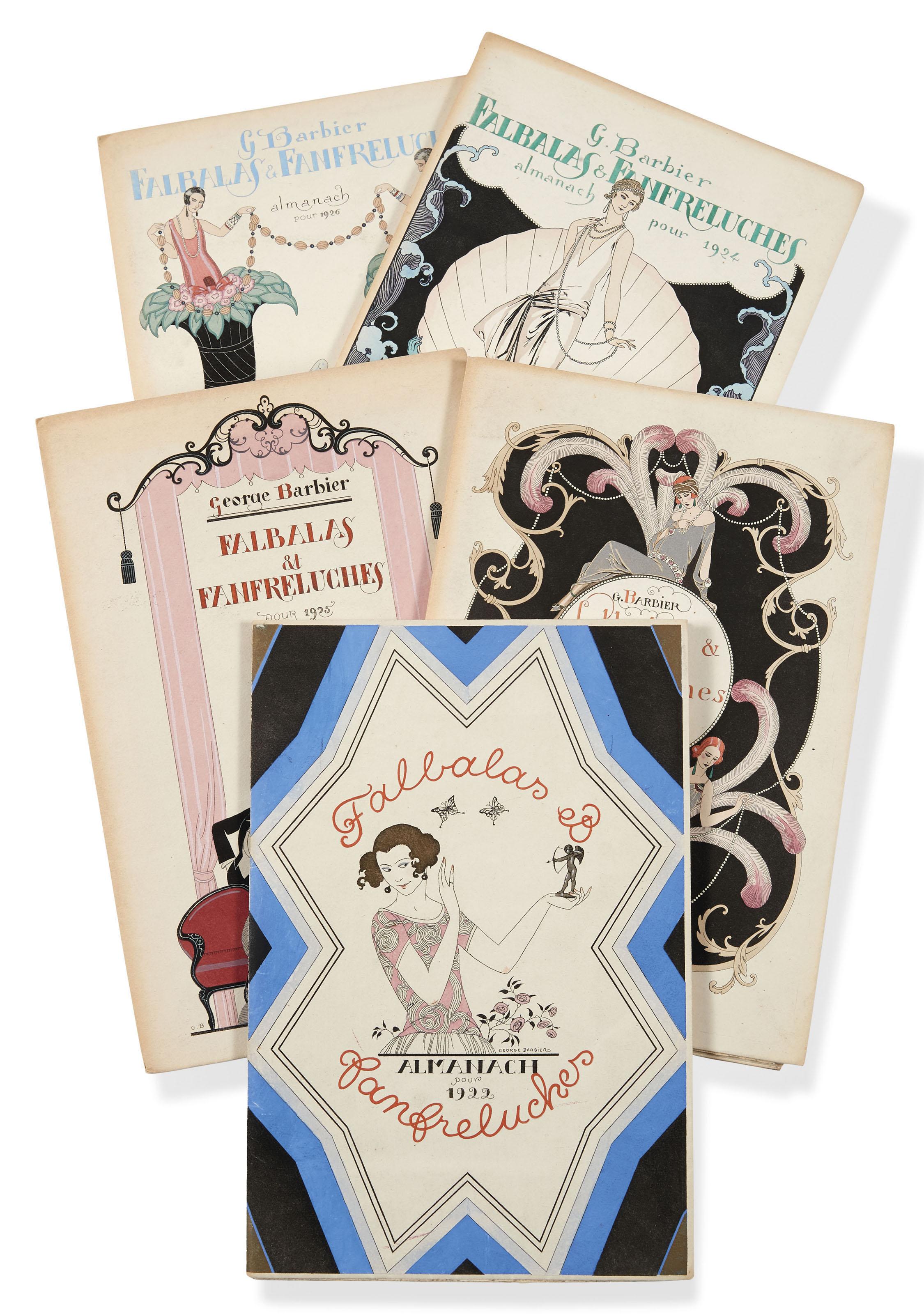 BARBIER (G.). Falbalas et fanfreluches. Paris, Meynial, 1922-1926, 5 plaquettes grand in-8°, en feuilles, couvertures illustrées en couleurs.