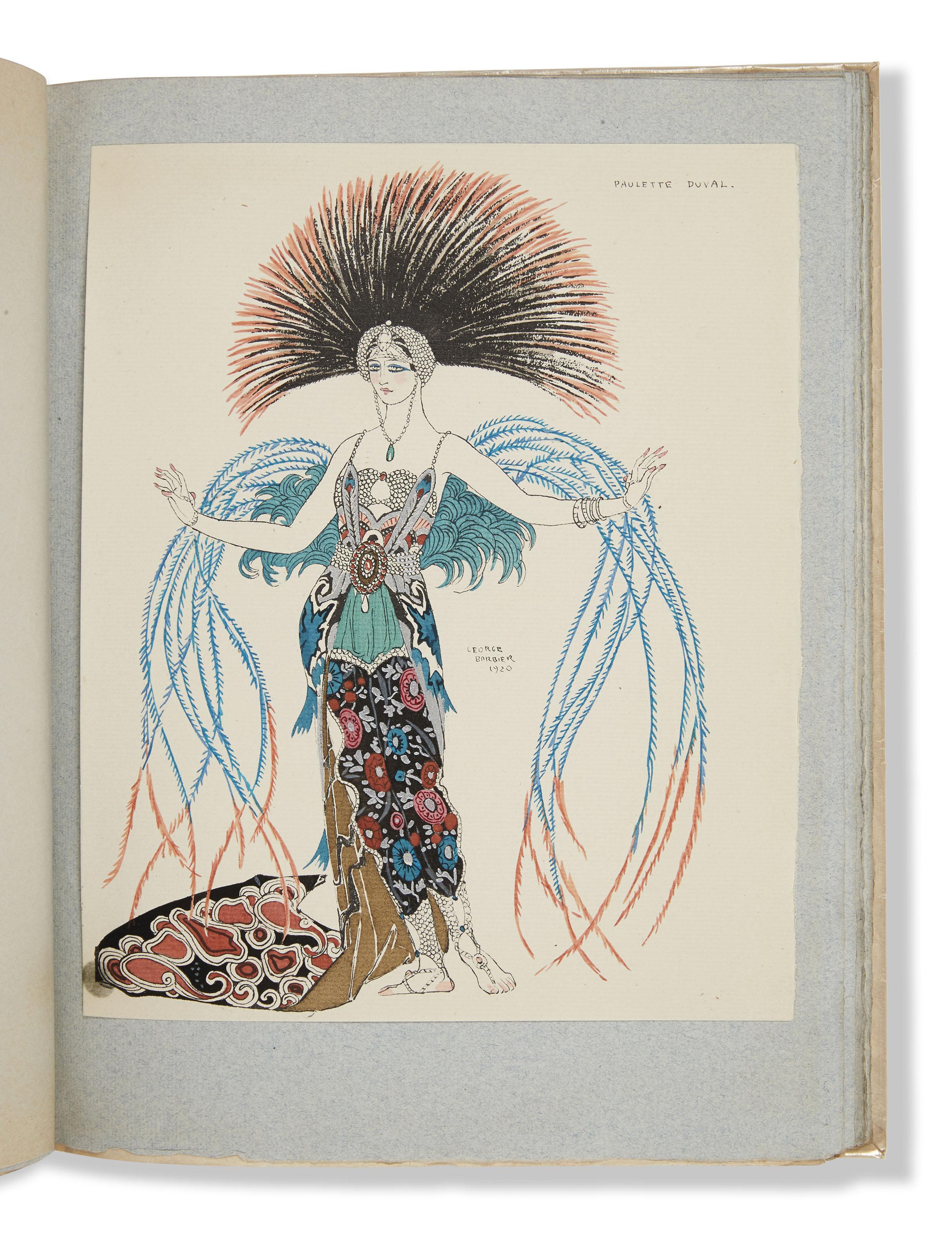 BARBIER (G.). Vingt-cinq costumes pour le théâtre. Préface par Edmond Jaloux. Paris, C. Bloch et J.Meynial, 1927, in-4°, broché, couverture illustrée d'éditeur.