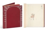 VERLAINE (P.) – BARBIER (G.). Fêtes galantes. Paris, Piazza, 1928, in-4°, maroquin rouge, large portique au treillage de maroquin argenté sur le premier plat, encadrement intérieur de maroquin orné d'un filet au palladium, doublure de moire rouge sertie d'un listel de maroquin argenté, gardes de moire rouge, tranches dorées sur témoins, couverture, étui bordé de maroquin rouge (Marot-Rodde).