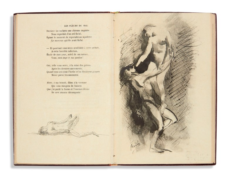 Charles Baudelaire and Auguste Rodin, Twenty-seven Poems of the Flowers of Evil, Paris, Société des Amis du livre moderne, 1918. Dimensions 183 x 117  mm. Estimate €2,000-3,000. This lot is offered in Bibliothèque Marc Litzler  on 20 February 2019 at Christie's in Paris