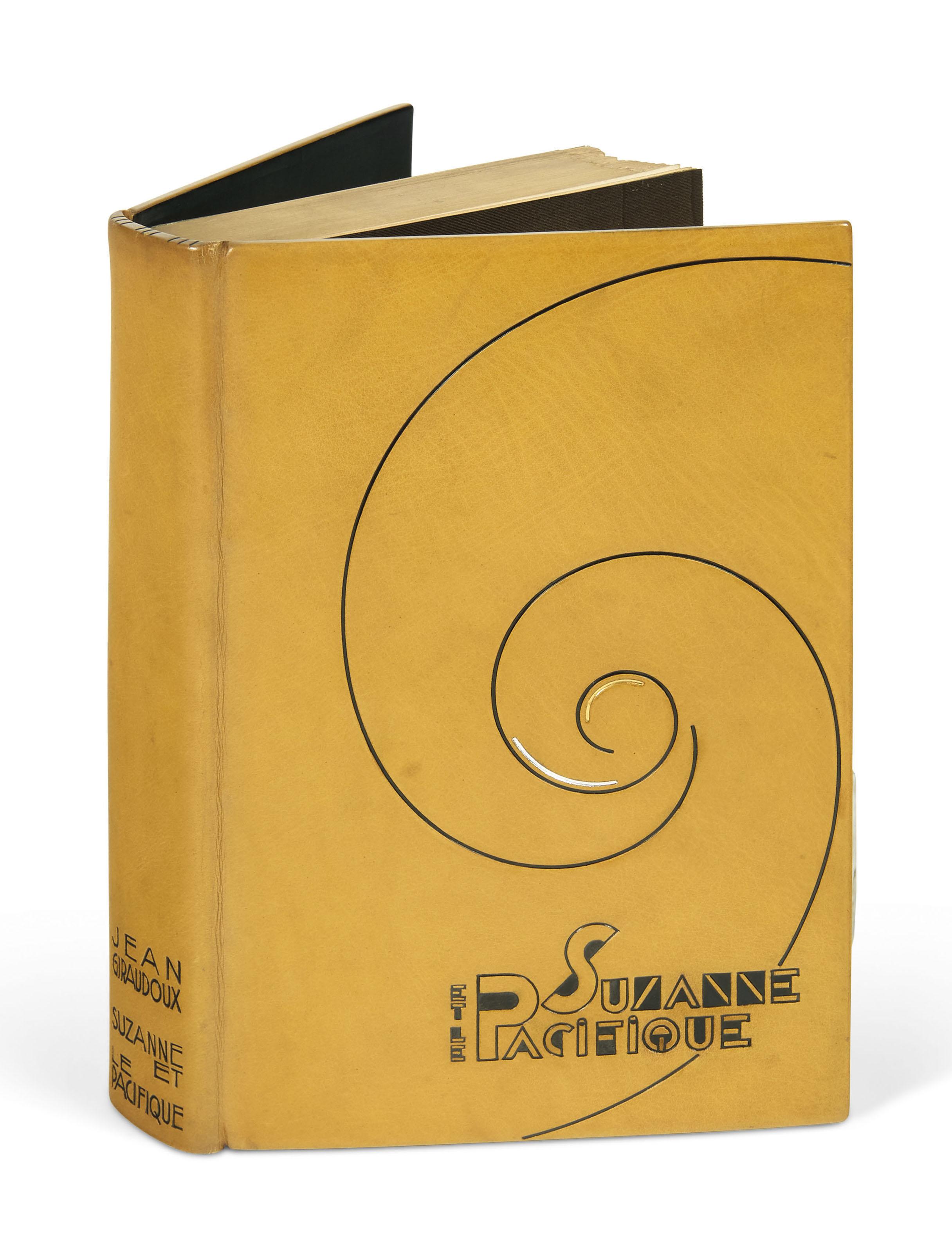 GIRAUDOUX (J.). Suzanne et le Pacifique. Paris, Émile-Paul frères, 1921, in-12, box moutarde orné sur les plats d'une spirale poussée à l'œser noir, or et palladium, premier plat portant le titre de l'ouvrage mosaïqué de même box avec des jeux d'aplats et de filets à l'œser noir, dos lisse avec en pied le nom de l'auteur et le titre de l'ouvrage frappé à l'œser noir, doublure bord à bord de box noir, gardes de soie moirée tête-de-nègre, double garde de papier métallisé or, couverture et dos, tranches dorées sur témoins, chemise et étui gainés de box moutarde (Rose Adler 1930).