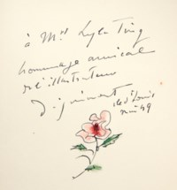 ALAIN-FOURNIER – DIGNIMONT (A.). Le Grand Meaulnes. Paris, Émile-Paul, 1942, in-4°, décor mosaïqué passant par le dos composé de deux bandes de box, l'une noire, l'autre vert amande, constellées de petites étoiles rondes or, argent et blanc, au centre des plats deux demi-cercles accolés, verticaux, en regard, mosaïqués de box rose et de box tilleul, séparés sur le premier plat par une petite constellation en spirale poudrée de minuscules particules blanches et d'étoiles argent et or, partie inférieure du dos ornée d'un listel central vertical mosaïqué de box noir et tilleul, doublure bord à bord de daim beige rosé, gardes de même, couverture et dos, tranches dorées, chemise et étui gainés de box noir (Rose Adler 1949).
