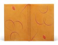 BATAILLE (G.) – FAUTRIER (J.). Madame Edwarda. Paris, Chez le Solitaire [Librairie Auguste Blaizot], 1942 [1945], in-8°, box vieil ivoire verni, sur chaque plat, se répondant tête-bêche, décor d'un buste féminin dessiné d'arabesques au palladium à la manière de Fautrier et mosaïqué de box orange, dos lisse orné en long du titre de l'ouvrage en lettres au palladium, doublure bord à bord de même peau et selon la même technique, gardes de soie orange, couverture et dos, tranches dorées sur témoins, chemise et étui gainés de box gris (Leroux – 1970).
