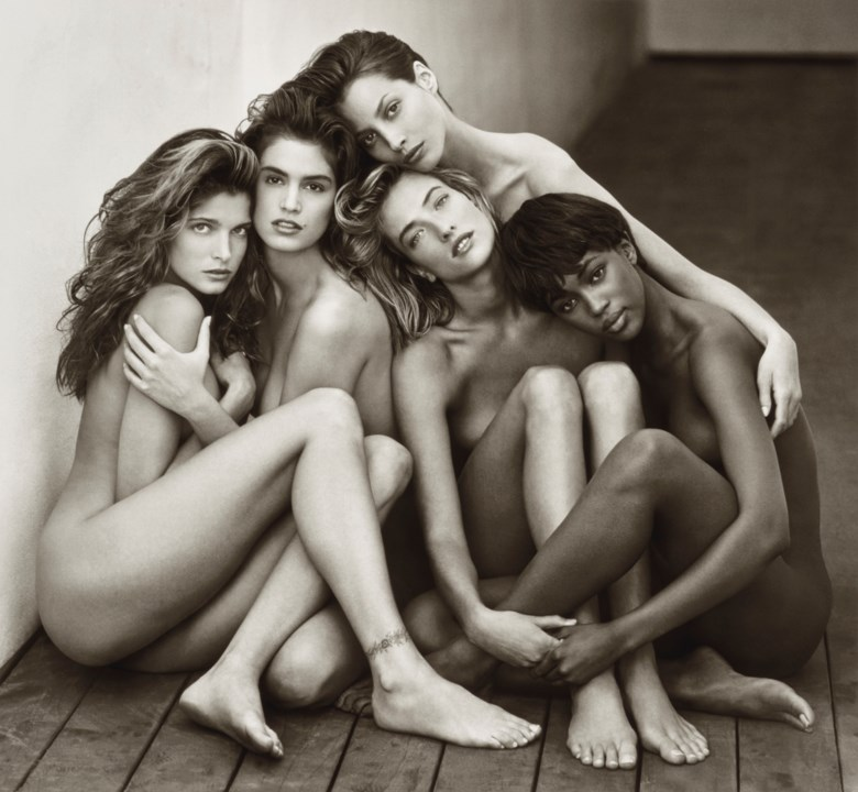 Herb Ritts (1952-2002), Stephanie, Cindy, Christy, Tatjana, Naomi, Hollywood, 1989. Montage 54.7 x 64.5  cm (21 ½ x 25⅜  in). Estimate €80,000-120,000. Offered in Icons of Glamour & Style The Constantiner Collection on 19 June 2019 at Christie's in Paris