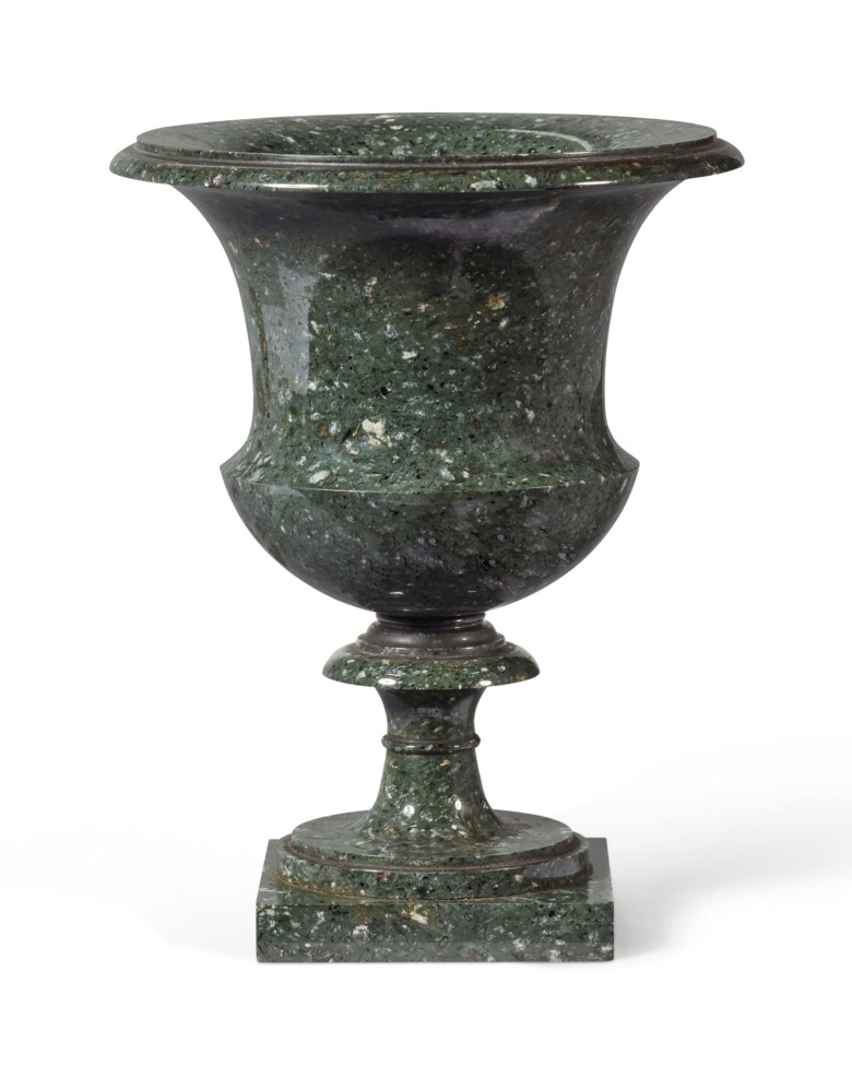 A 20th-century green granite Medicis vase.  Height 16  cm (6.5 in). Sold for €6,000 on 17 April 2019 at Christie's in Paris