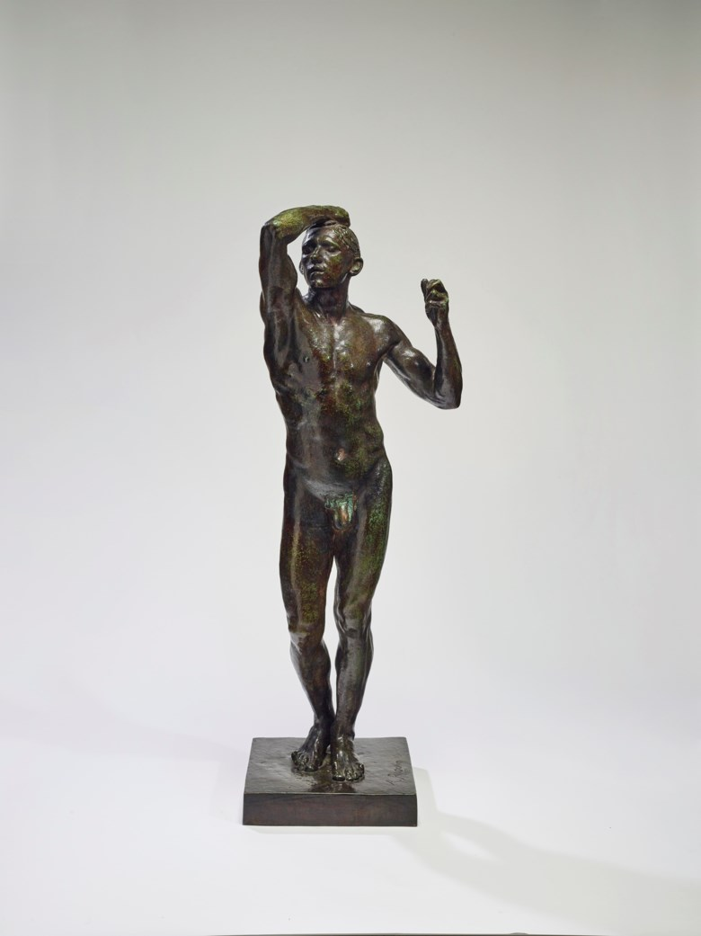 Auguste Rodin (1840-1917), The Age of Bronze, medium size, first cast of the model, conceived in 1875-77; this version was realised in this size in 1903-1904; this version cast in 1904.  Bronze with brown and green patina. Height 104.4 cm (41⅛ in). Sold for €3,577,500 on 27 November in Paris