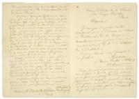 RIMBAUD, Arthur (1854-1891). Lettre autographe signée à sa famille. Aden, Hôtel de l'Univers, le 18 novembre 1885.