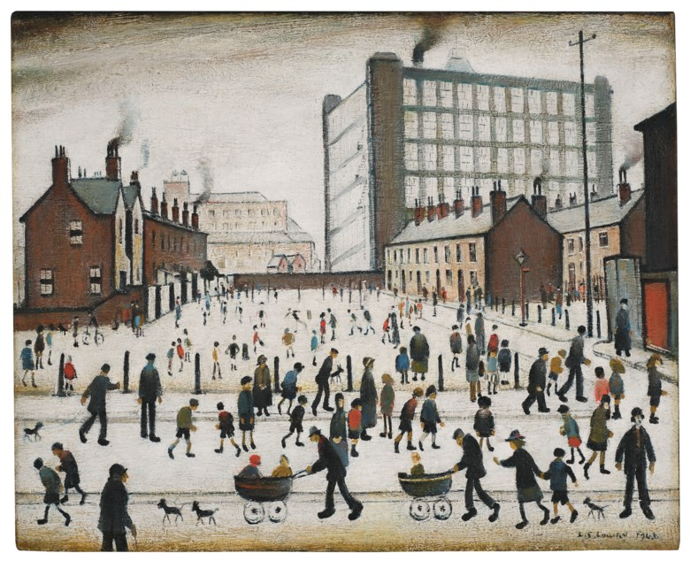 Laurence Stephen Lowry, R.A. (1887-1976), The Mill, Pendlebury, painted in 1943. Oil on canvas. 17⅜ x 21¼  in (44.1 x 54  cm). Estimate £700,000-1,000,000. Offered in Modern British Art Evening Sale  on 21 January 2020 at Christie's in London