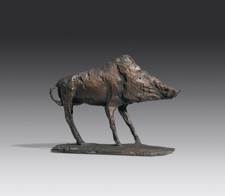 Dame Elisabeth Frink, R.A. (1930-1993), Boar, conceived in 1968. Bronze with a dark brown patina. 8  in (20.3  cm) long. Estimate £25,000-35,000. Offered in Modern British Art Day Sale on 22 January 2020 at Christie's in London