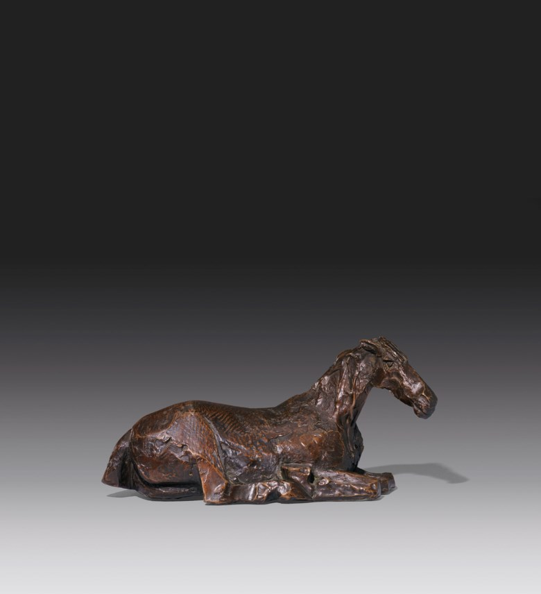 Dame Elisabeth Frink, R.A. (1930-1993), Horse in the Rain II, conceived in 1977. Bronze with a dark brown patina. 13  in (33  cm) long. Estimate £50,000-80,000. Offered in Modern British Art Day Sale on 22 January 2020 at Christie's in London
