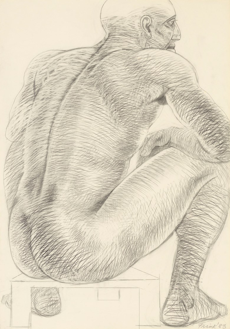 Dame Elisabeth Frink, R.A. (1930-1993), Seated Man, executed in 1983. Pencil on paper. 39¼ x 27½  in (99.6 x 69.9  cm). Estimate £7,000-10,000. Offered in Modern British Art Day Sale on 22 January 2020 at Christie's in London