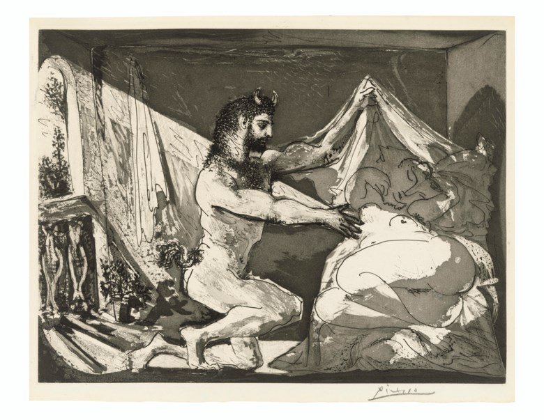Pablo Picasso (1881-1973), Faune devoilant une femme, from La Suite Vollard, 1936. Aquatint, on Montval laid paper. Plate 315 x 419  mm, Sheet 339 x 450  mm. Estimate £30,000-50,000. Offered in Prints & Multiples on 18 March 2020 at Christie's in London