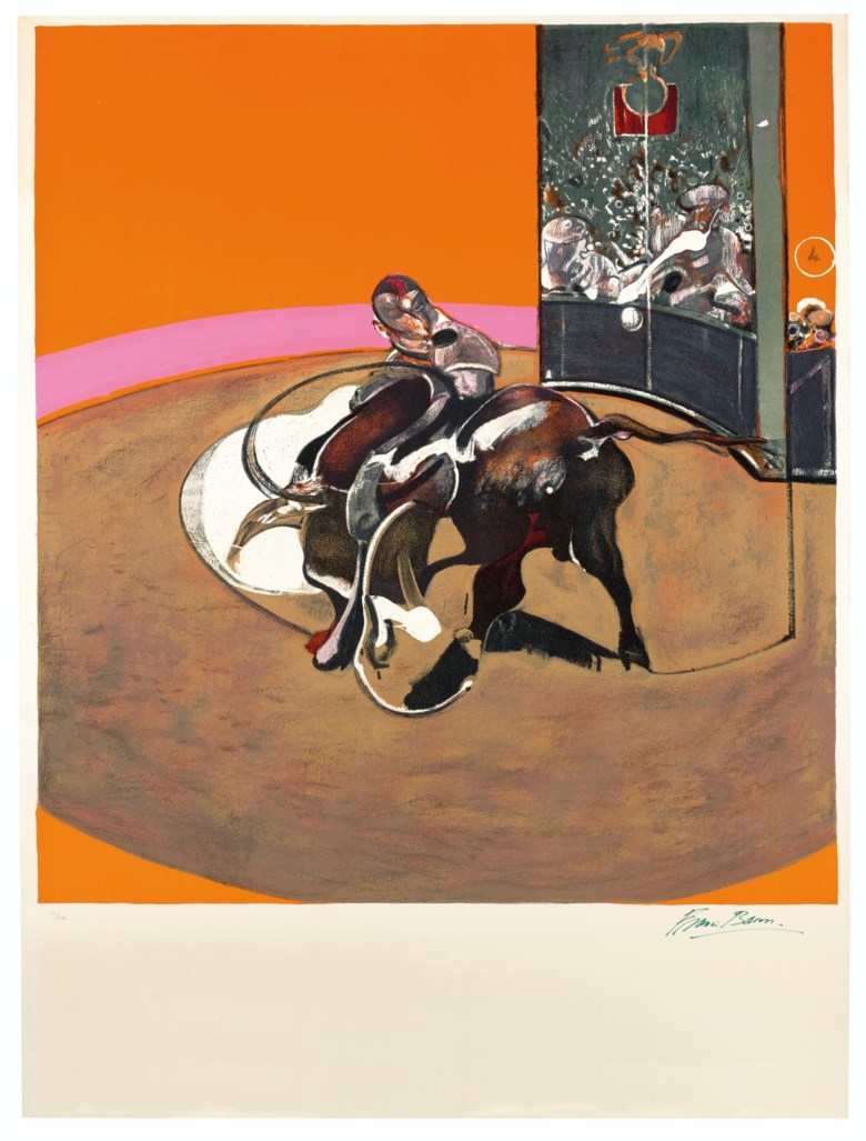 Francis Bacon (1909-1992), Étude pour une corrida, 1971. Lithograph in colours. Image 1263 x 1150  mm, Sheet 1600 x 1200  mm. Estimate £40,000-60,000. Offered in Prints & Multiples on 18 March 2020 at Christie's in London